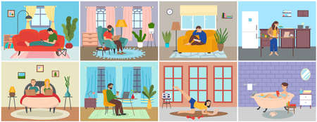 Set of people at home in various situations, people relax, do household chores and correspondence surfing the Internet, communicating through network. Social media network, digital gadget addiction