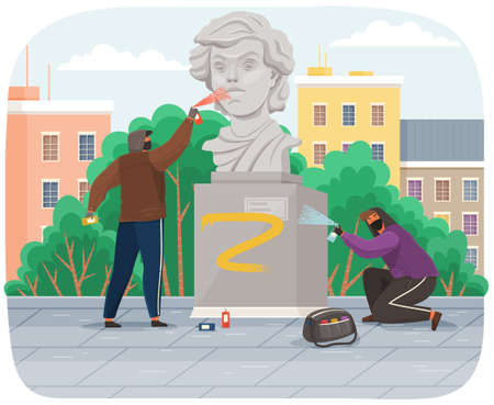 Vandals damaging monument. Bullies in hood and balaclava painting graffiti on a statue in city park stain with paint. Street gangsters and vandalism concept. A man bandit destroy city property
