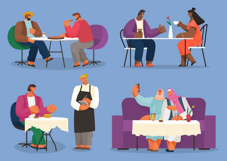 Friends meeting, collection of illustrations, different races people in cafe or restaurant, two men eating pizza, african couple with cup of coffee, waitress accept order, muslim girls take selfie