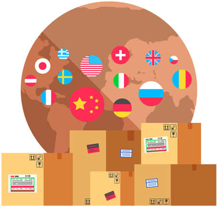 Earth with flags of world. Planet surrounded by national symbols of countries. Flags of different countries and nationalities around globe. Boxes with parcels for international delivery of goods