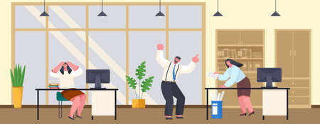 Office deadline. Business workers managers stress hold their head with their hands on workplaces at work, vector cartoon characters in panic. Angry boss screaming and swearing waving his hands