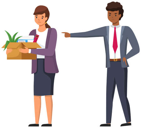 Layoff concept. Angry man boss dismissed employee. Unhappy girl leave the office with things in box. Unemployment dismissal of fellow workers. Crisis, jobless and employee job reduction concept