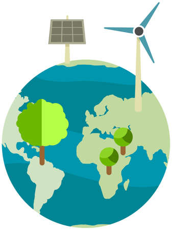 Production of eco friendly electricity with wind and solar power stations. Energy without harm to environment and nature. Caring for nature and preserving planet. Greening and saving earth concept