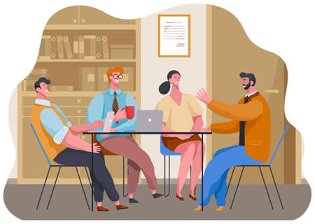 Businesswoman and businessmen talking, drinking coffee, tea break time in office workspace with laptop. Employees, colleagues use coffee break to maintain friendly conversations and rest from work Vecteurs
