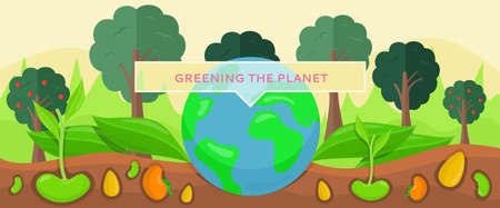 Greening planet concept. Growing and planting tree seedlings in ground vector illustration. Caring for nature and preserving planet. Earth surrounded by trees and plants. Sprouted seeds in ground