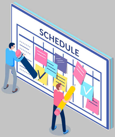 Business planning and scheduling concept. Group of employee stick papers with schedule for week. Timetable with to-do plans. Guys with pencils fill out schedule. Agenda reminder vector illustration Ilustración de vector