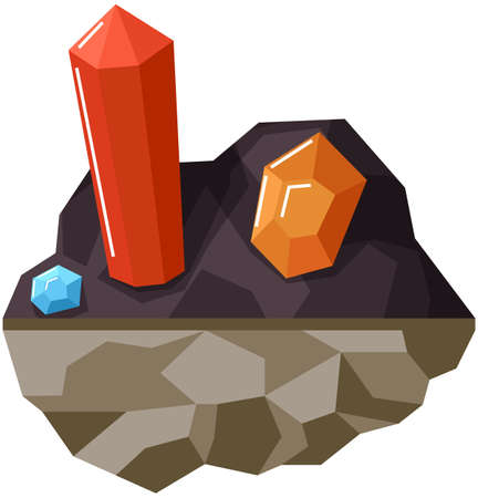 Minerals in ground isolated on white background. Crystals and colorful gems flat vector illustration. Red orange and blue crystals of different shapes. Expensive faceted metals in piece of ground Vector Illustratie
