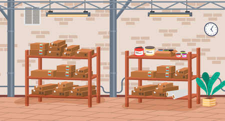 Racks with boxes and color containers cans with dyes in printing house room vector illustration. Cardboard containers stand on shelves in modern typography or print office near brick wall