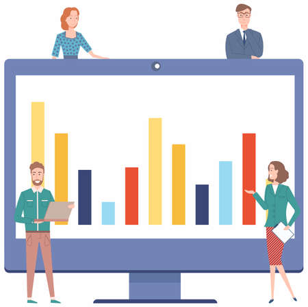 Colleagues talk about financial indicators. Workers communicate solve business development issues, collaboration and discussion graphical business report with charts. Teamwork, joint work in company