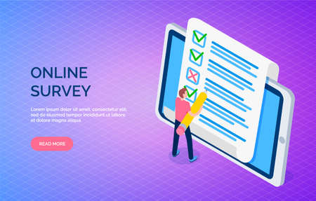Online survey landing page template with man makes marks in list. Customer service feedback on phone. Student fills out questionnaire on tablet. Sociological research collecting opinion of respondents