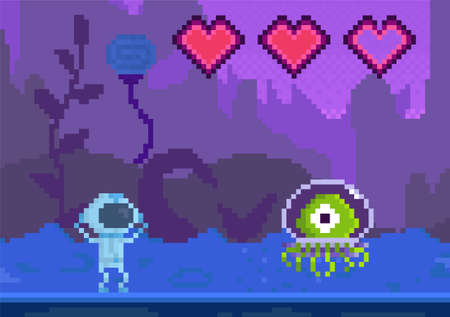 Pixel game interface layout design. Cartoon character goes to unidentified object. Alien attacks astronaut with incomplete health. Man raises his hands up and looks through helmet at danger