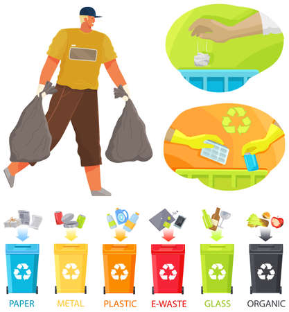 Volunteer man is cleaning territory. Guy collects rubbish on contaminated areas. Male character transfering garbage bags. Cartoon character removing trash. Sorting garbage and unrefined waste concept
