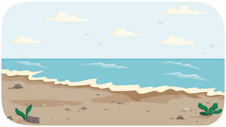 Coastline with ocean at high tide vector illustration. Seascape with salty water on seashore. Water covers shore. Beach with dark dirty sand. Light breeze on ocean bank. Landscape with view of sea