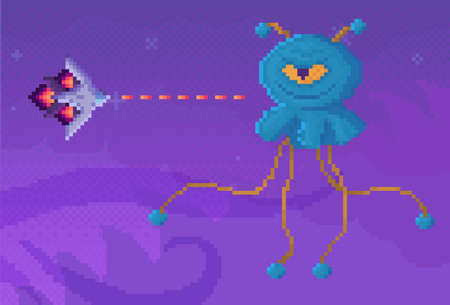 Boss of game next to combat aircraft. Space pixel game interface design layout. Cartoon character with long limbs vector illustration. Rocket or plane attacks and shoots evil one-eyed monster