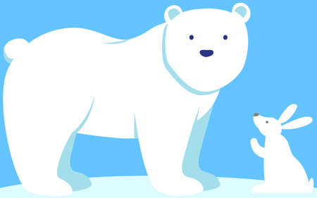 Walking or standing polar bear in arctic. Little white rabbit is looking at large mammal with thick fur. Cute hare and bear predator live in cold regions. Animals in wild in low temperature climate