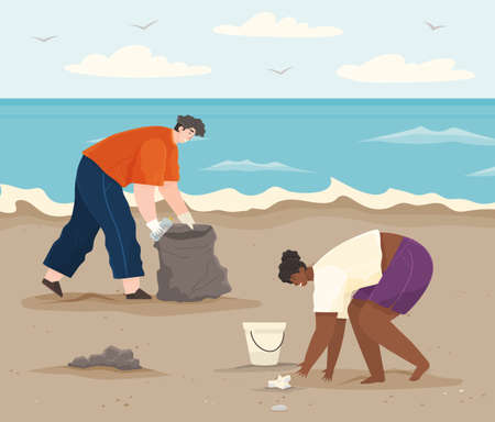 Ecology problems and global pollution concept. Volunteers are cleaning beach. Couple volunteering collects garbage on contaminated area. Man and woman cleaning up paper and plastic waste on shore