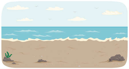 Polluted coastline with ocean and waves vector illustration. Seascape with salty water on seashore. Pollution of nature and environment. Water covers sandy beach with waves. Dirty ocean bank