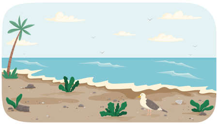 Coastline with ocean at high tide. Seascape with salty water and palm trees on seashore. Water covers shore. Seagull standing on dark dirty sand. Light breeze on ocean bank. Landscape with view of sea