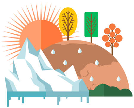 Sun heats surface of Earth, evaporating moisture and causing glaciers to melt vector illustration Ilustracje wektorowe