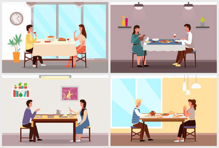 Set of illustrations on the theme of eating at home. Couples of different nationalities taste food