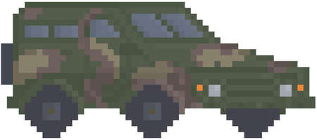 Modern army truck for pixel game design. layout. Military technics object, force heavy equipment