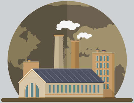 Manufactures and factories pollute air and atmosphere. Enterprise on background of destroyed planet. Vetores