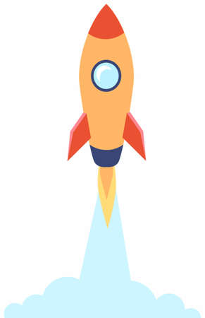 Rocket in flat style isolated on white. Space travel to the moon. Space ship launch business concept