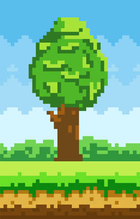 Tall tree grows in clearing with green grass pixel design. Tree and bush symbol of pixel game