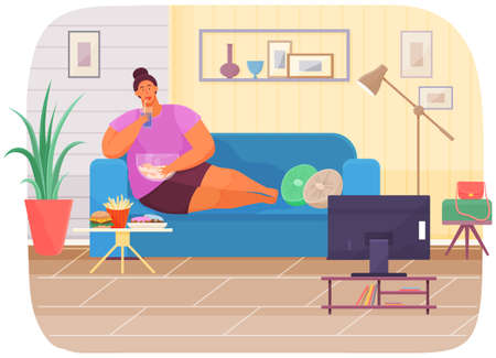Fat woman is watching movie on television while sitting on her couch and eating snack and fastfood