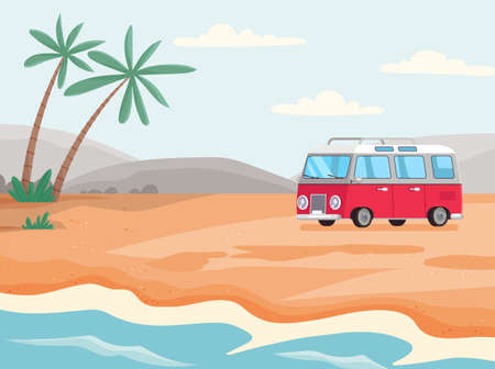 Minibus for staying and living on beach. Mobile home for tourism and traveling around world