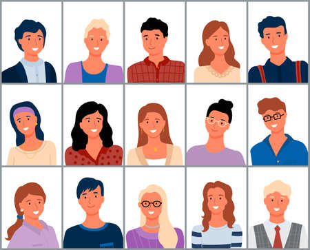 Portraits of People, Man and Woman Faces Vector