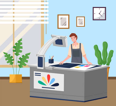 Man printing at plotter wide format. Printshop and polygraphy office worker. Typography concept