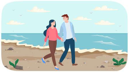 Young couple in relationship walks by handle near ocean bank. People are walking on beach Ilustración de vector