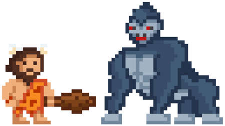 Pixelated warrior primitive man holding club fighting against gorilla, caveman wearing animal pelt