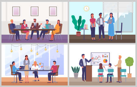 Business characters working at workplaces at the table with computers, communicating at a meeting Vector Illustratie