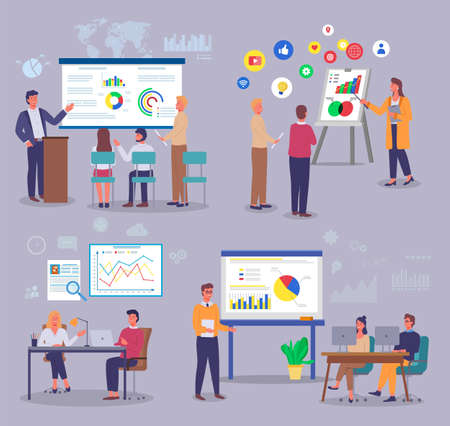 Marketers study analytical data, customer demand, pie and bar charts, charts, graphs. World trade