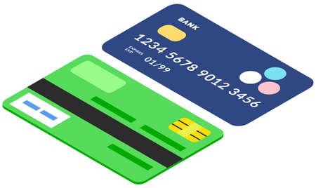 Devices for contactless payment online. Credit and debit cards with code and security symbols Vektoros illusztráció