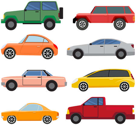 Cars of different types without drivers. Set of modes of transport and shapes vector illustration Vektoros illusztráció