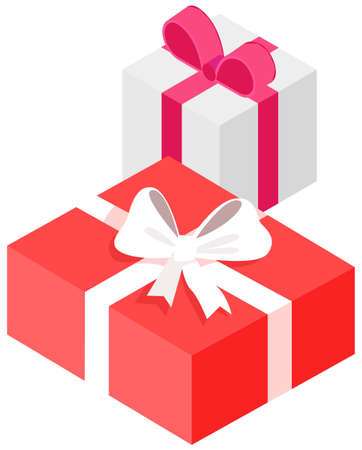 Gift wraps on boxes with decoration. Holiday presents in bright packaging decorated with bows