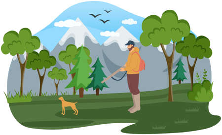 Man with gun walks through woods. Hunter goes after his dog in forest. Hunting animals concept Vector Illustration