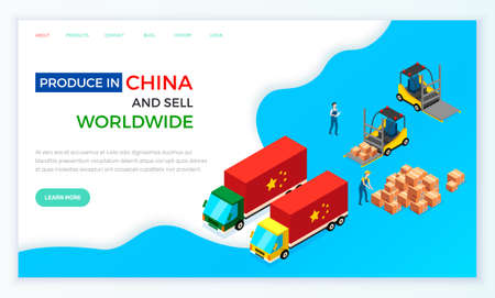 Web site on topic of online sales and purchases in China. Loading trucks with parcels for delivery