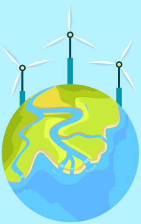 Production of eco friendly electricity with wind power station. World globe vector illustration