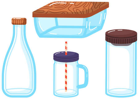 Eco friendly glass packaging, set of containers jars, bottles and boxes for storing food and liquids