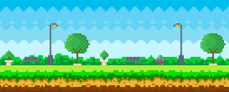 Pixel art game nature landscape with trees, bushes, benches, trash can and street lamp, blue sky 矢量图像