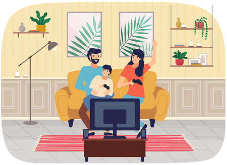 Friendly family playing video games at home together. Mom dad and son gaming with gamepad controller