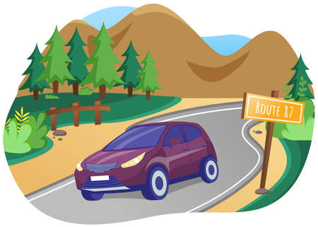 Travel by car concept. Purple crossover rides on road on country tour. Traveling by transport 矢量图像