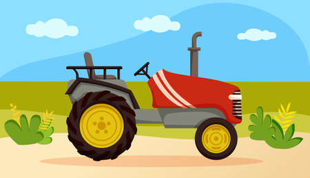 Agricultural transport for plowing fields. Red tractor riding on background of field, meadow
