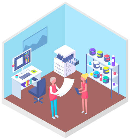 People working with equipment and shelving with paints. Office technique vector illustration 矢量图像