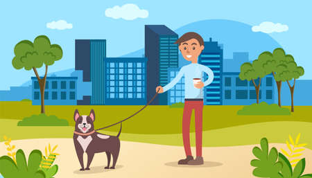 Male character walking with dog on background of modern city. Guy holds leash and drinks coffee