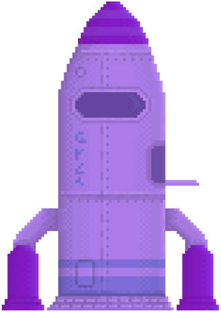Pixelated rocket isolated on white background. Combat pixel aircraft for alien transportation